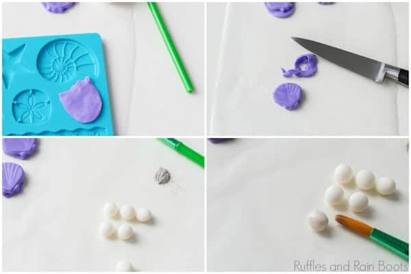 photo collage tutorial of step 1 mermaid rice krispies for a mermaid party