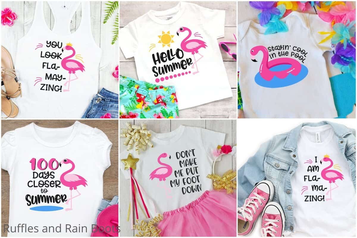 photo collage of flamingo cut files for cricut or silhouette for summer