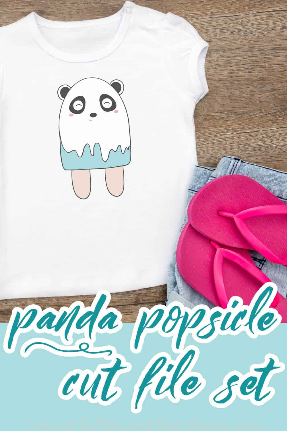 kid's t-shirt with the popsicle panda cut file on it with text which reads panda popsicle cut file set