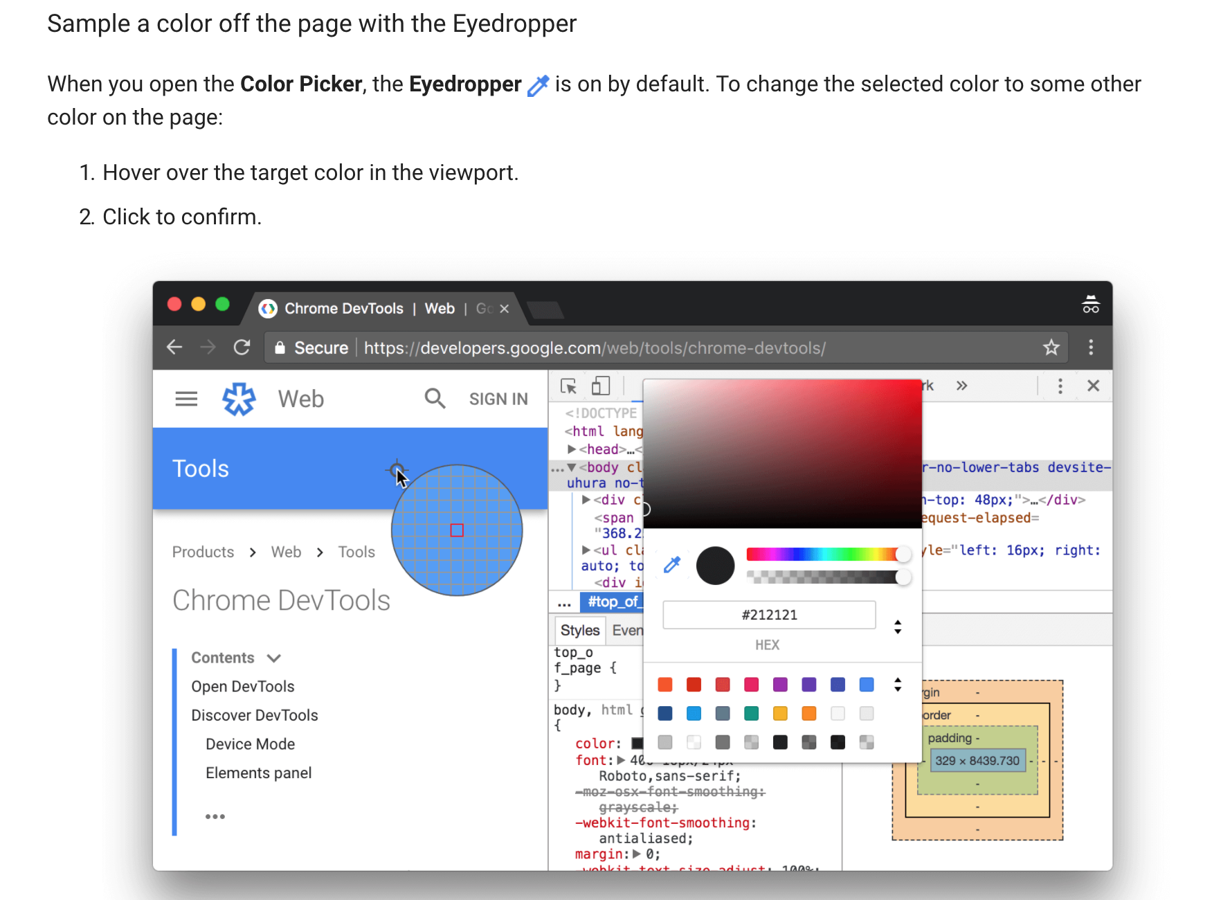 Image of how to use color picker eyedropper in chrome