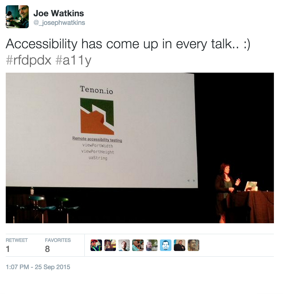 Tweet about accessibility being mentioned in every talk