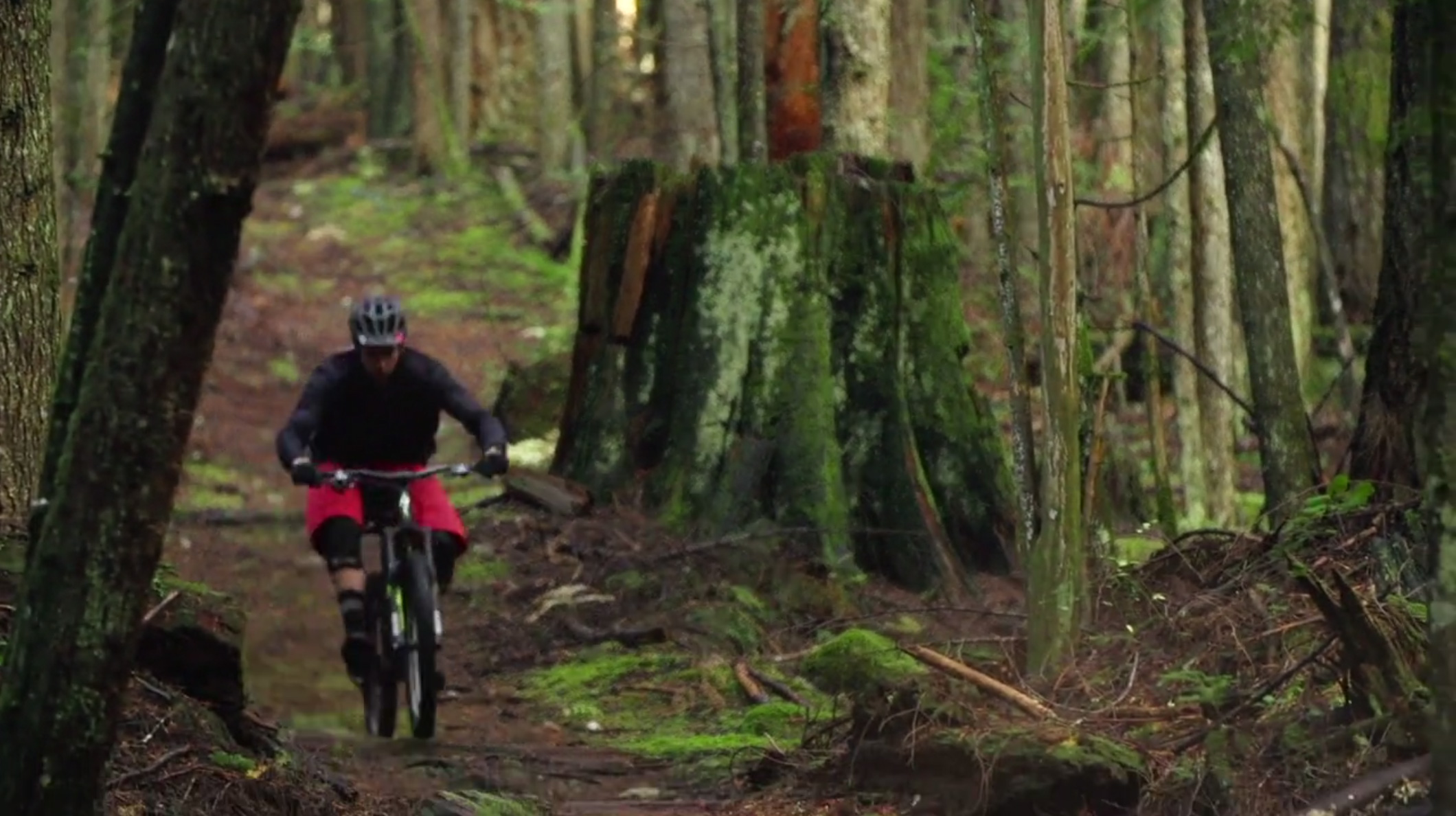 Man biking in woods