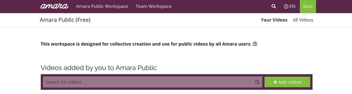 Amara interface - add videos button