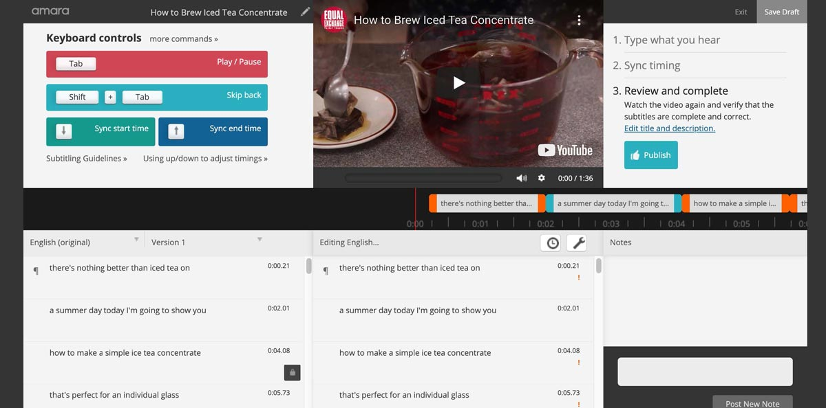 Amara interface - publish button