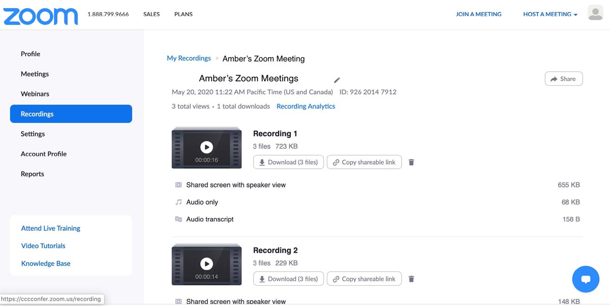 Zoom recordings page