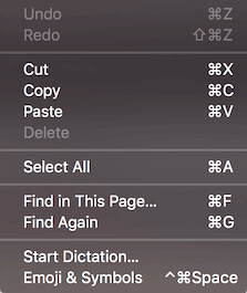 A system-wide MacOS Edit menu that groups Undo/Redo, Cut/Copy/Paste/Delete, Select All, Find in This Page…/Find Again, and finally Start Dictation…/Emoji & Symbols.
