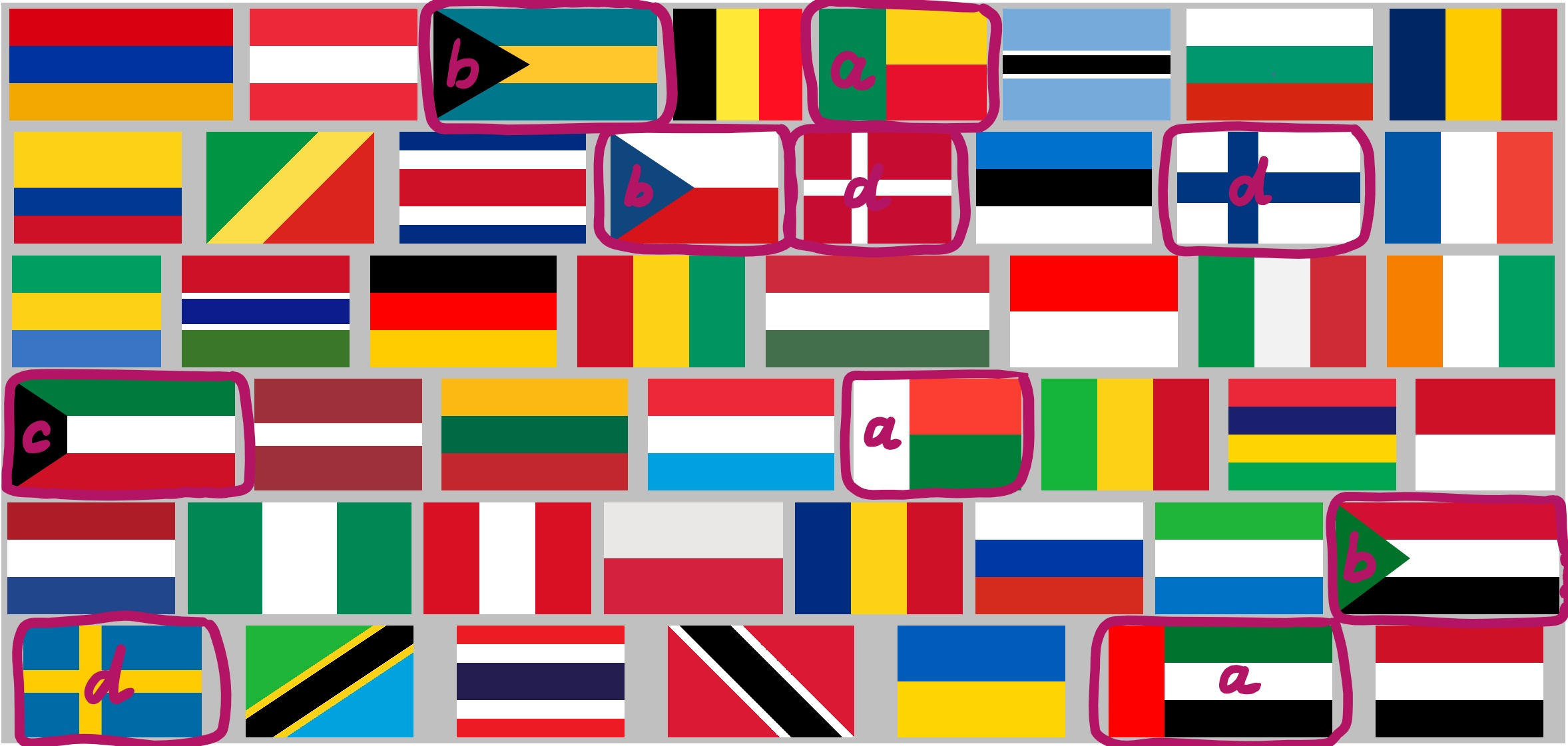 striped world flags with a few of them marked out (see below for list)