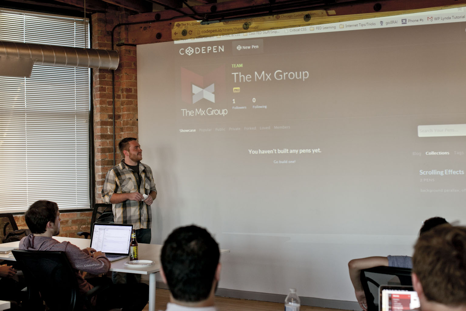 Nathan Herring presenting at CodePen Chicago