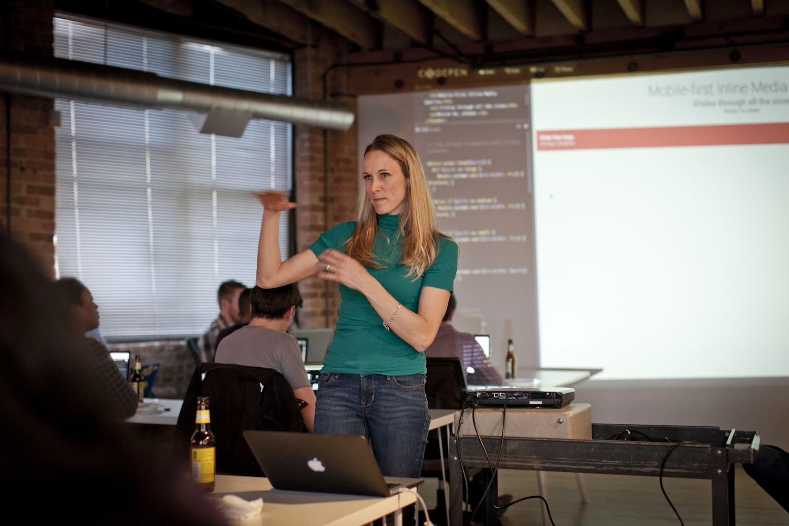 Stacy Kvernmo presenting at CodePen Chicago