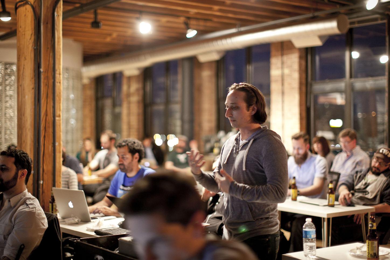 Dennis Gaebel presenting at CodePen Chicago
