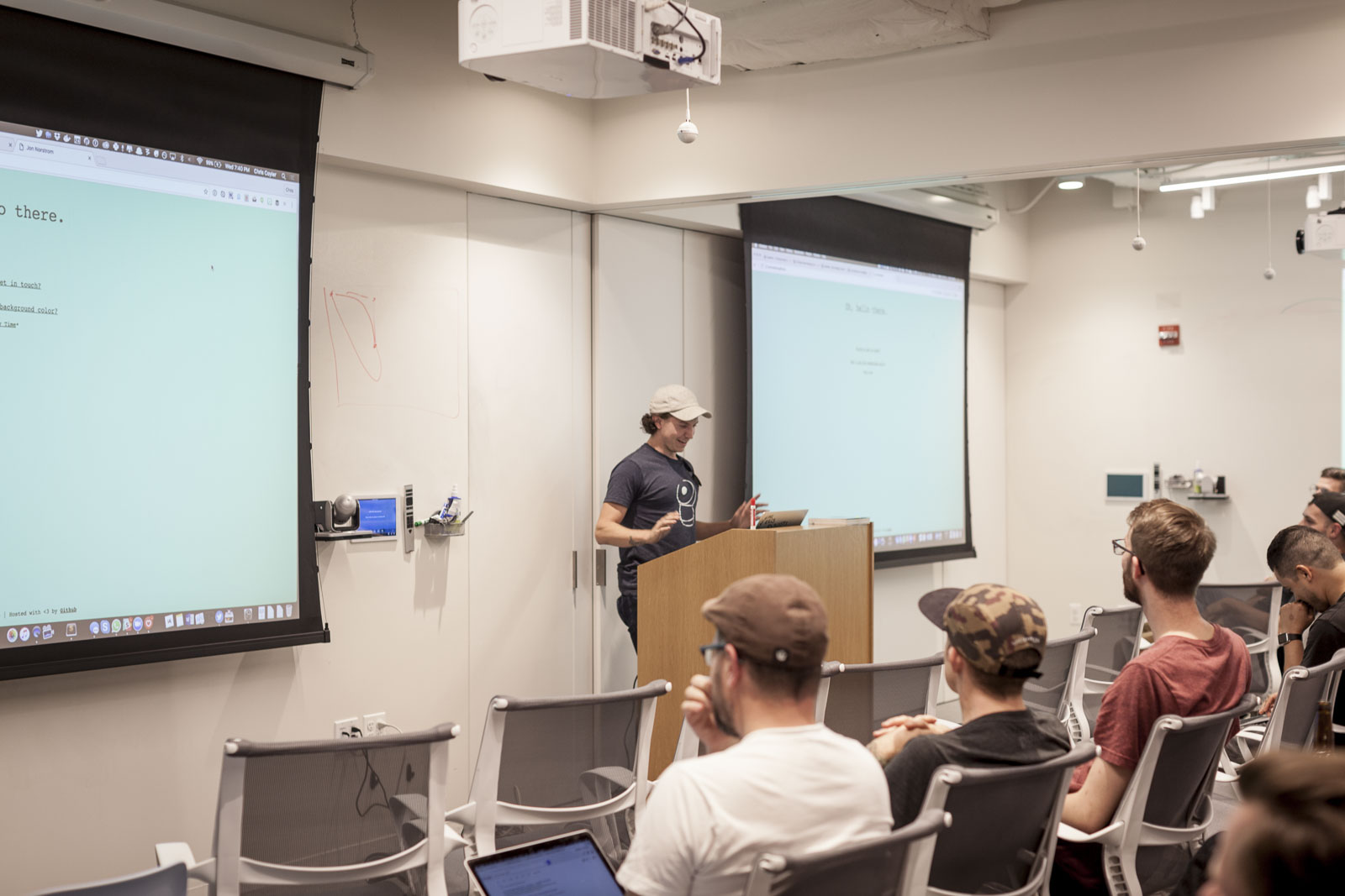 Jon Norstrom presenting at CodePen Chicago