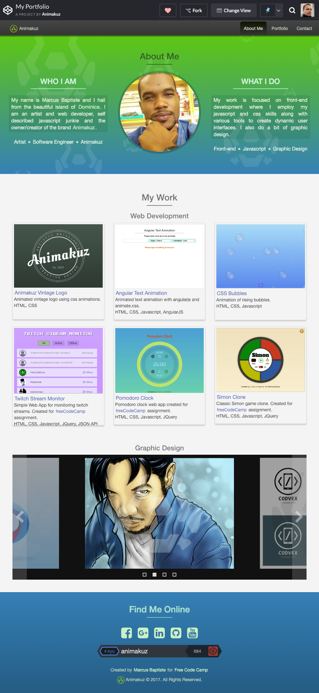Animakuz implemented his personal portfolio as a CodePen project.