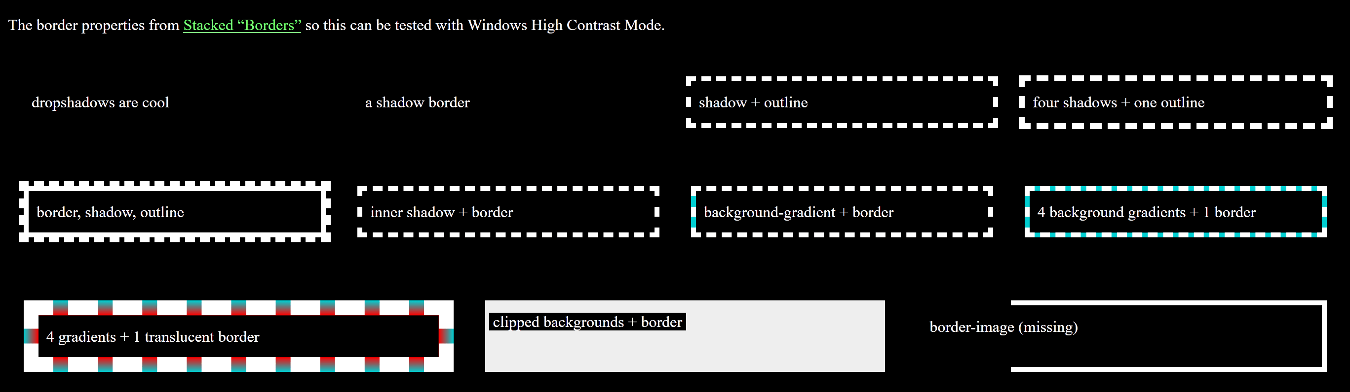Screen shot from Edge running Windows High Contrast Mode.