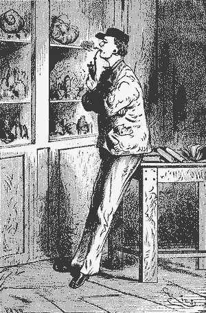 A black-and-white painting of a haughty man smoking a pipe in a 19th century library