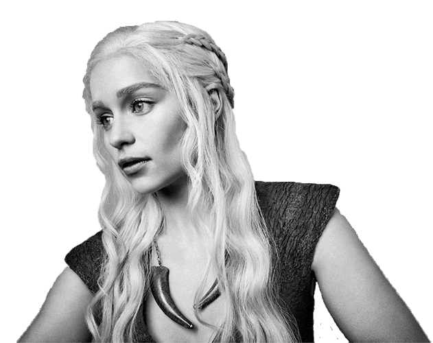 Black and white photograph of Emilia Clarke as Daenerys Targaryen