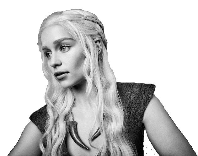Black and white photograph of Emilia Clarke as Daenerys Targaryen