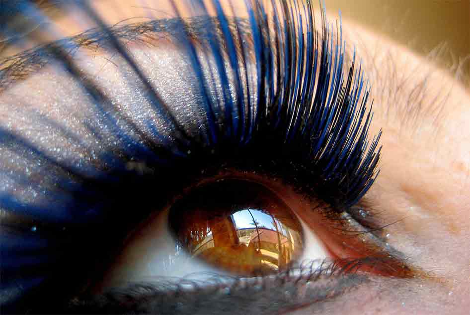 Photograph of dramatic fake eyelashes in closeup