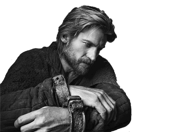 Black and white photograph of Nikolaj Coster-Waldau as Jamie Lannister
