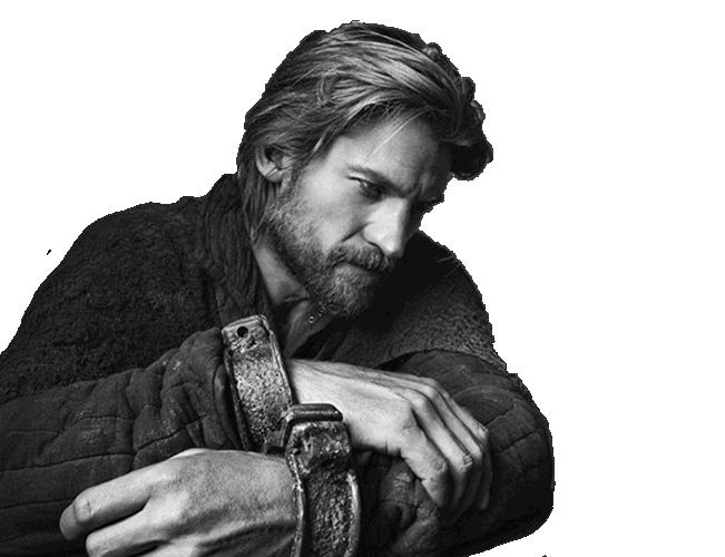 Black and white photograph of Nikolaj Coster-Waldau as Jamie Lannister