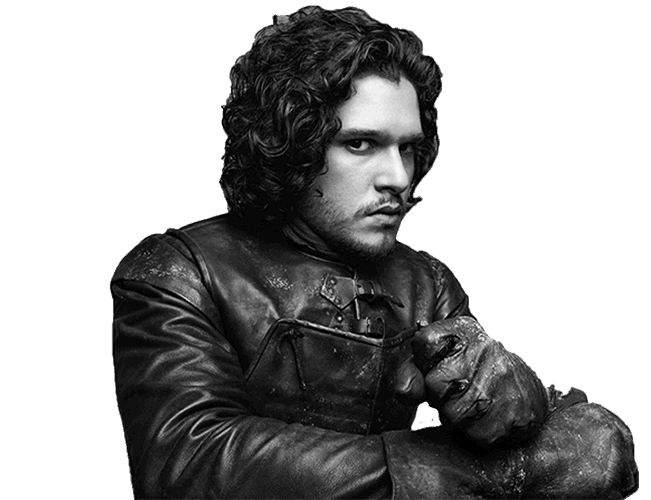 Black and white photograph of Kit Harington as Jon Snow