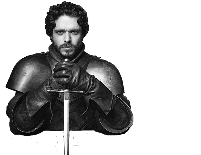 Black and white photograph of  Richard Madden as Robb Stark