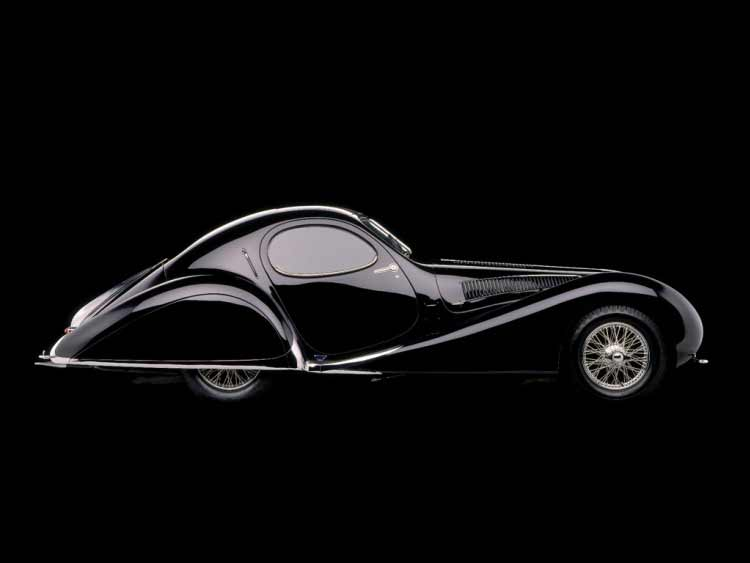 Photograph of black Talbot Lago T23 Teardrop Coupé