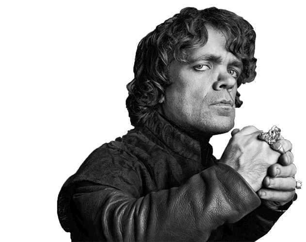 Black and white photograph of Peter Dinklage as Tyrion Lannister