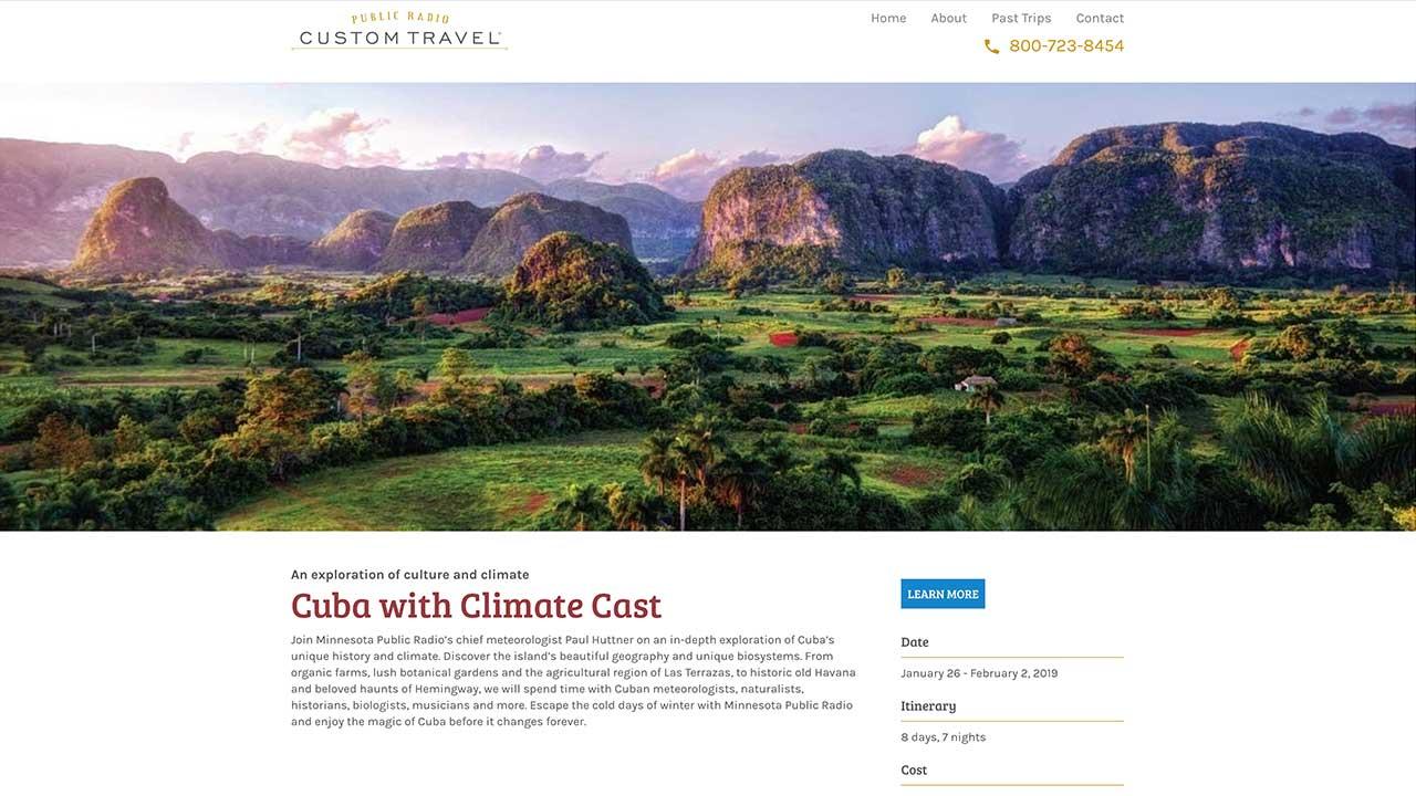 Public Radio Custom Travel Homepage