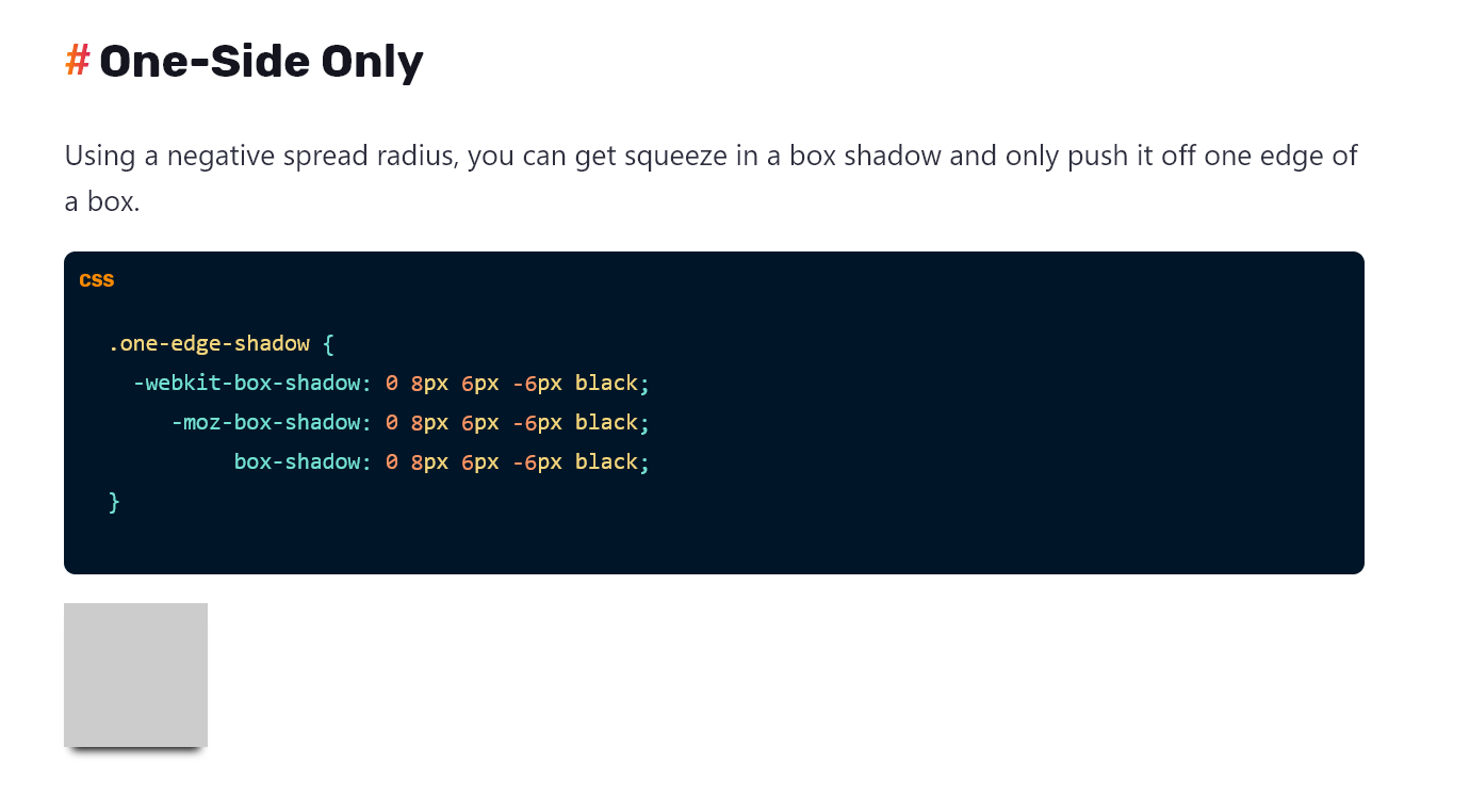 A snippet of a box shadow guide on CSS Tricks