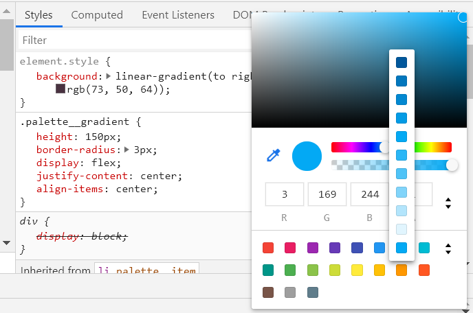 Screenshot of color picker in Chrome Dev tools