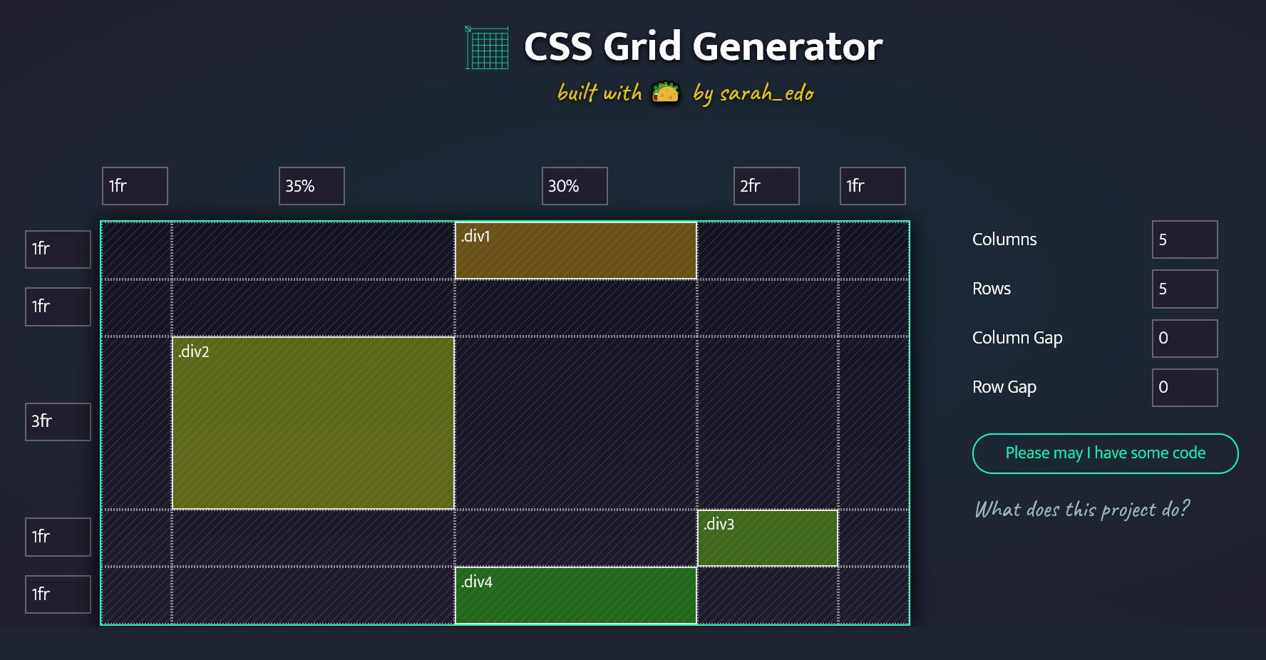 Screenshot of the CSS Grid Generator by Sarah Drasner
