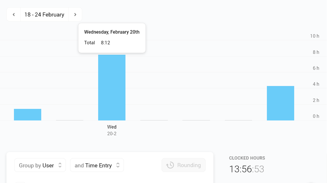 Screenshot of a time report