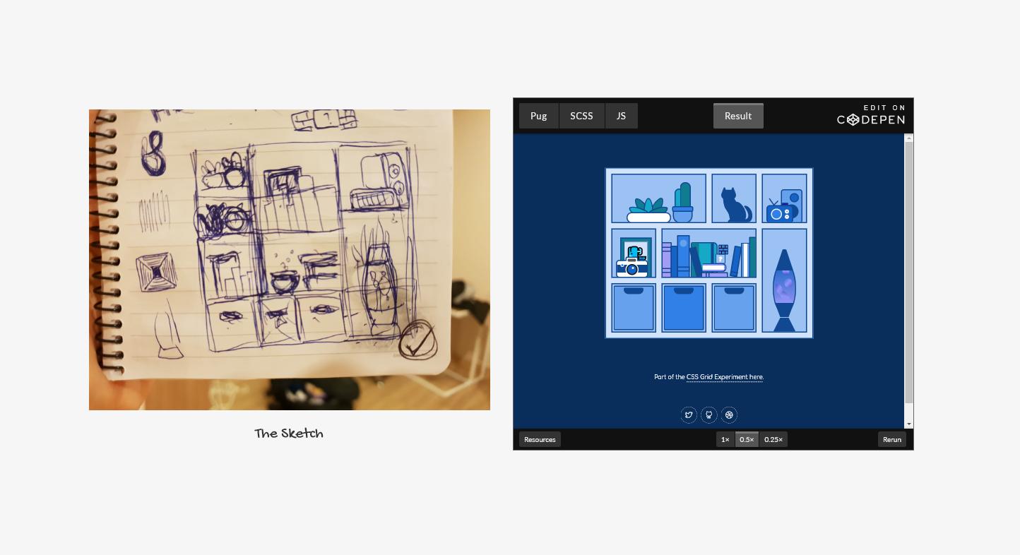 Comparison of a sketch vs a codepen