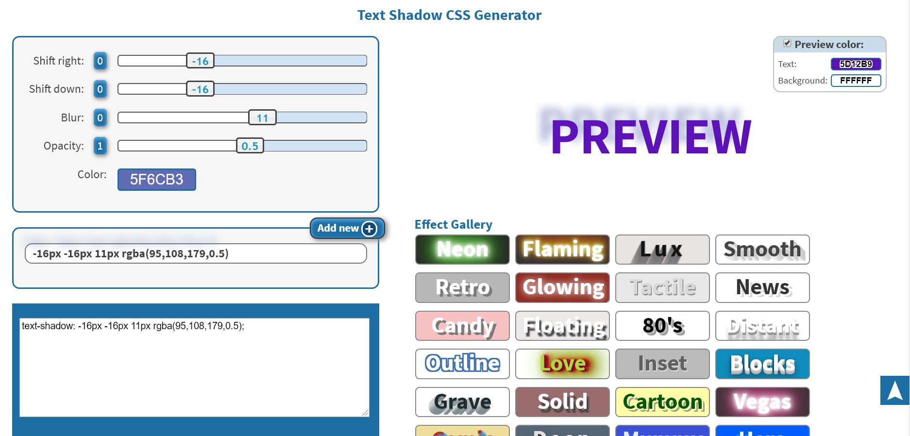 Screenshot of a text shadow CSS generator