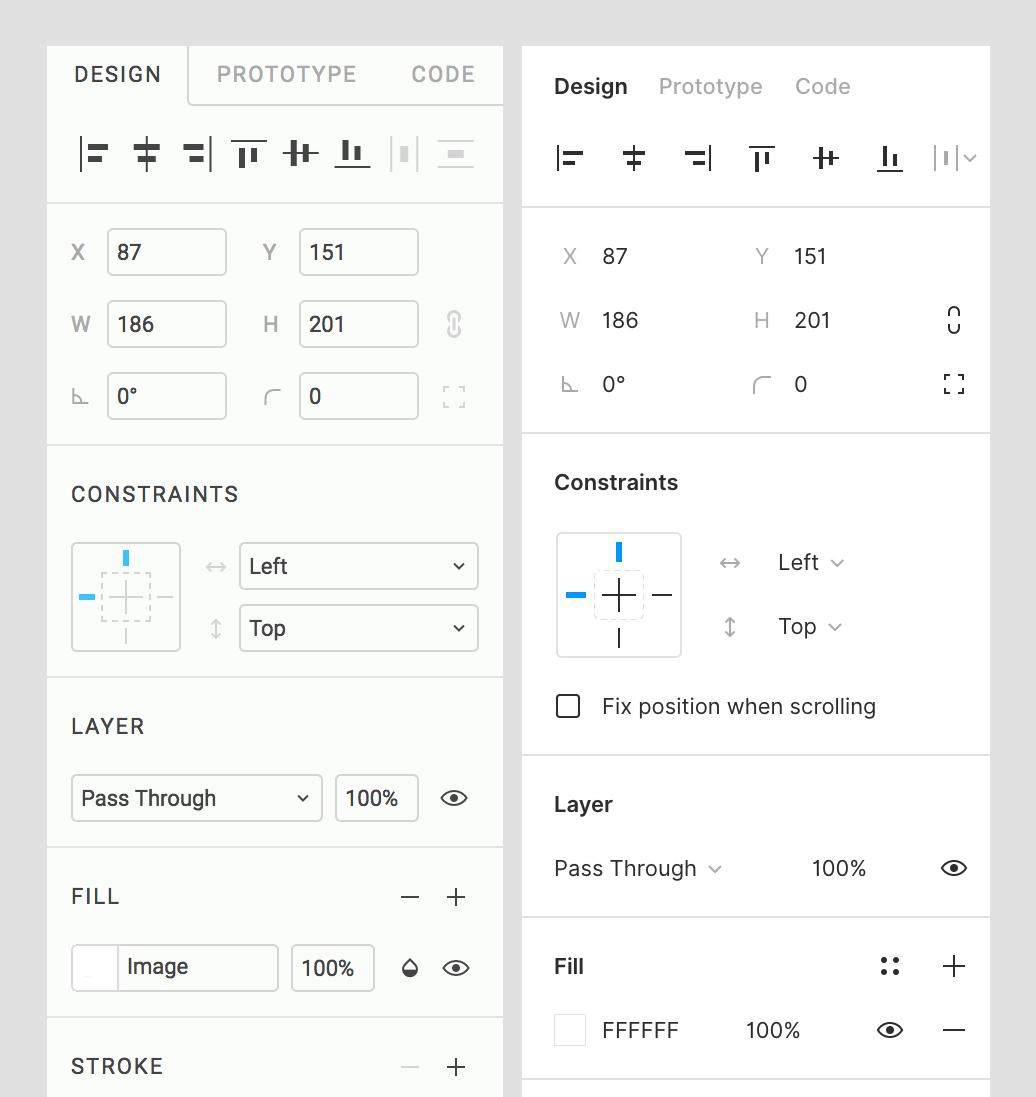 Old vs new figma panel comparison