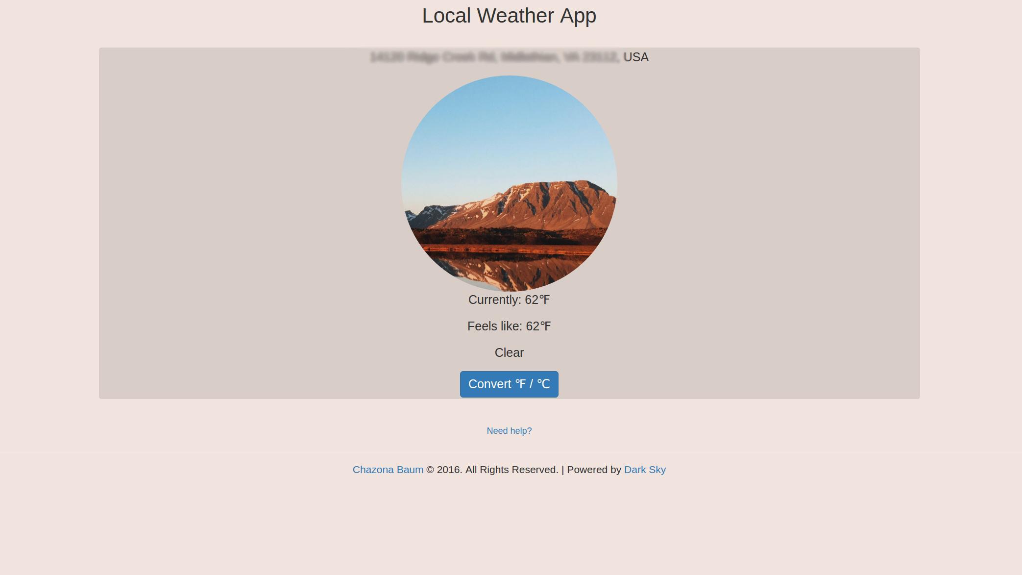 Local Weather App Screenshot