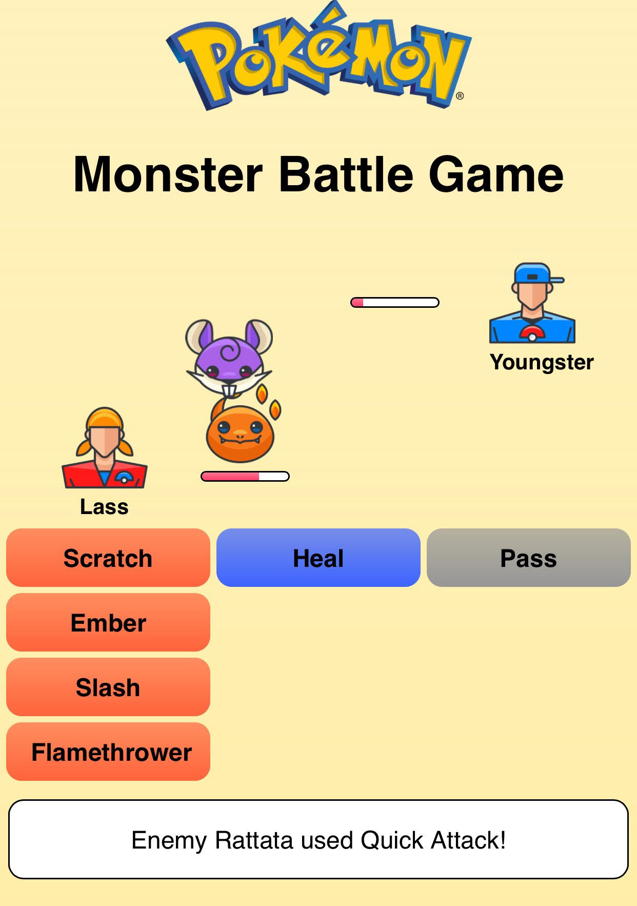 Pokemon Battle Game Screenshot
