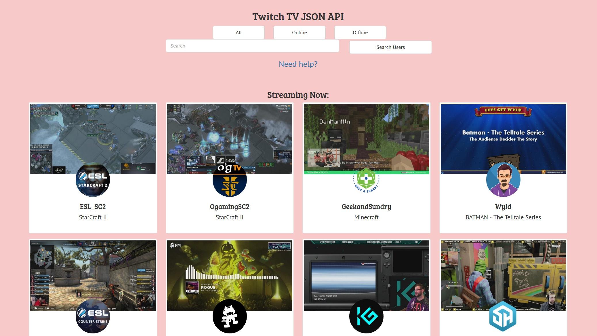 Twitch TV Project Screenshot