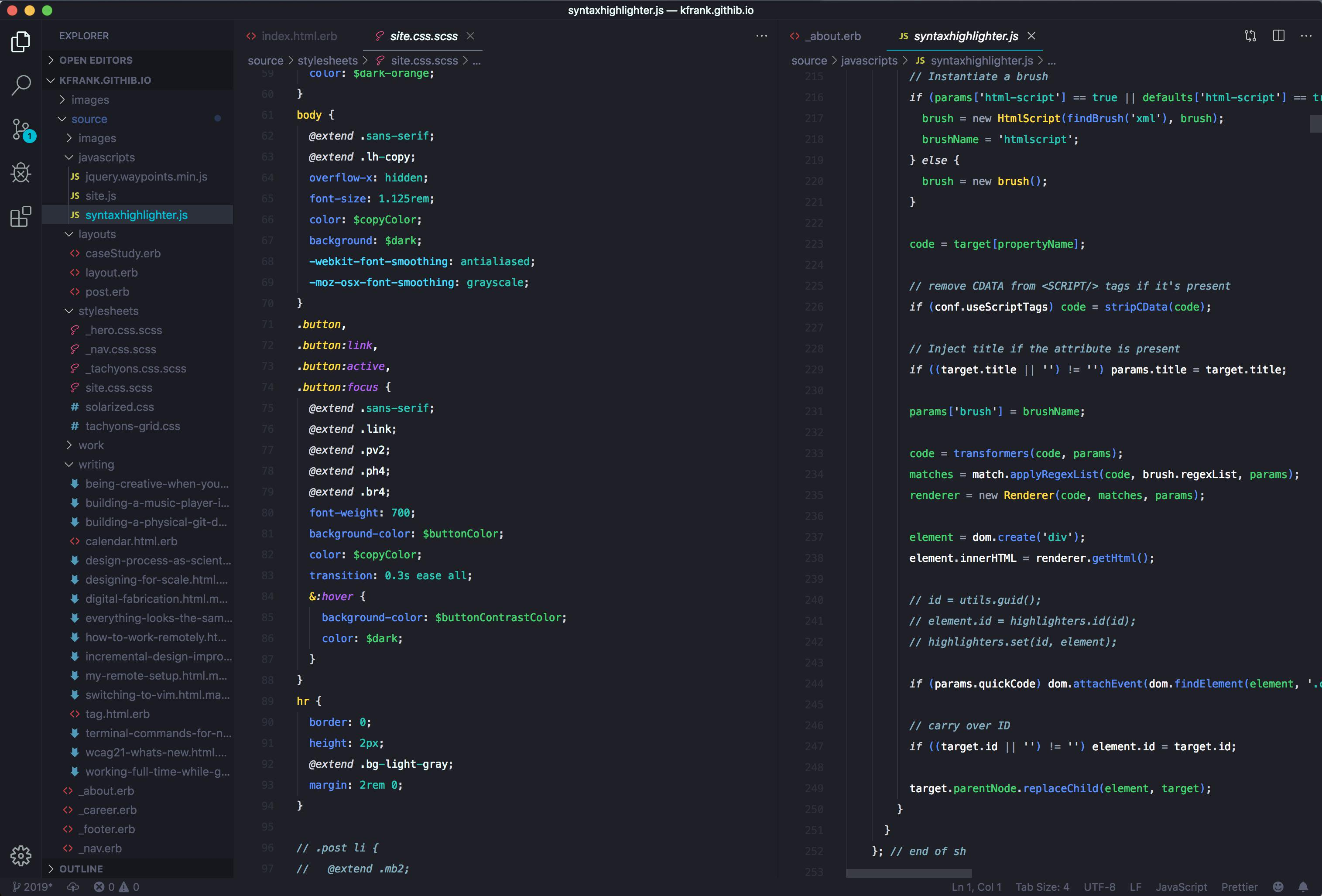Theme loaded into VSCode with a split screen of a .scss and a .erb file