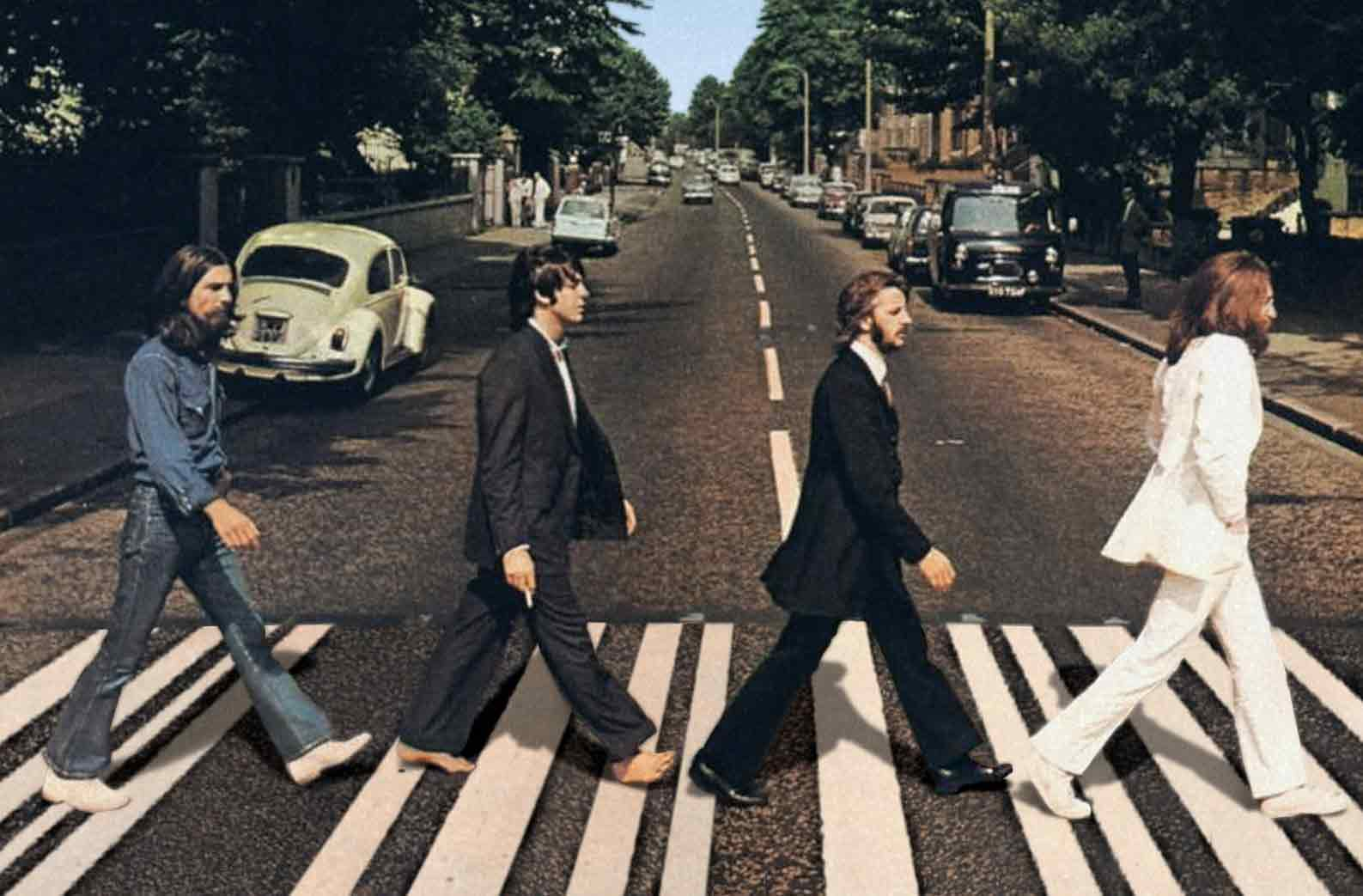 Beatles crossing Abbey Road