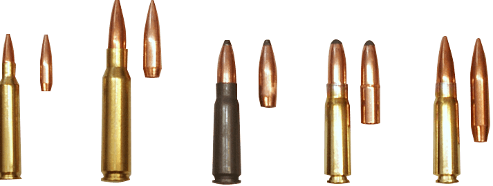 Remington, Winchester, Russian, and Thumper bullets
