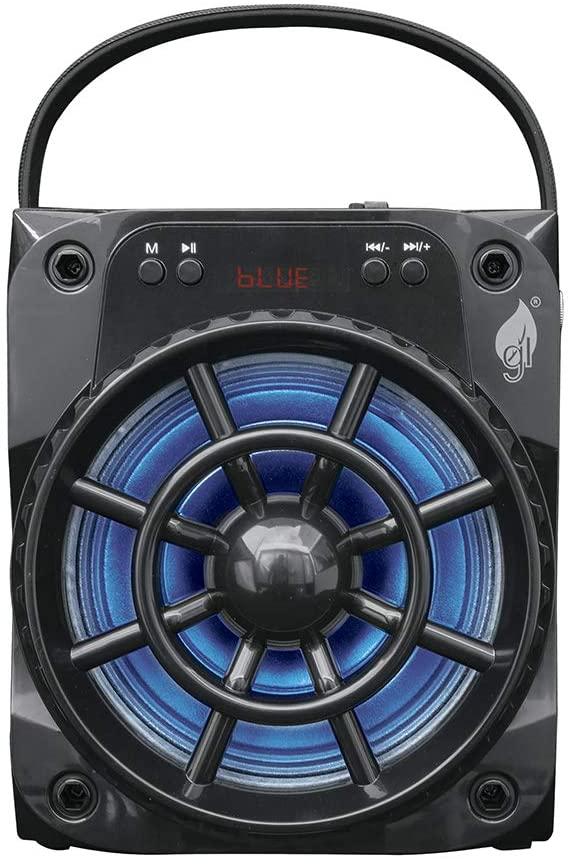"BOCINA RECARGABLE PORTATIL 6.5"" CON BLUETOOTH Y LUCES LED GREEN LEAF NEGRO 18-9450"