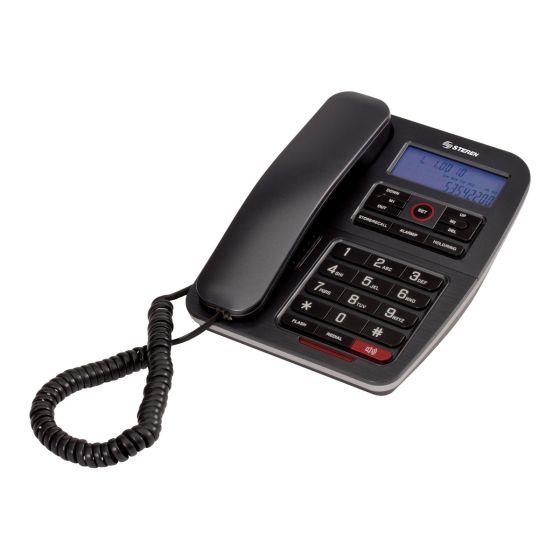 TELEFONO ALAMBRICO CON TECLADO Y PANTALLA GRANDE STEREN TEL-235 NEGRO