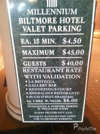 Millennium Biltmore Hotel Parking