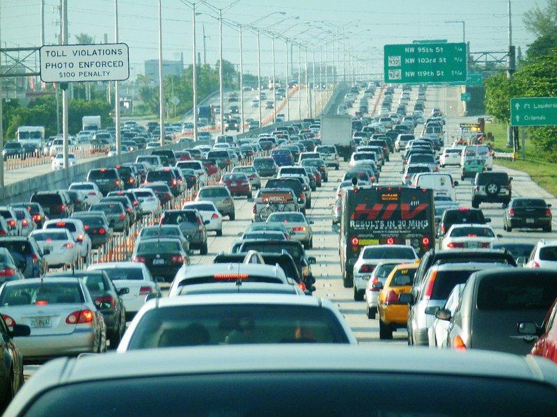 Miami traffic congestion, I-95 North rush hour