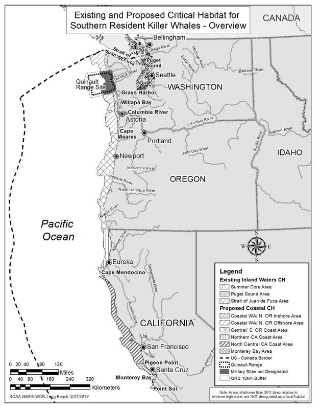 West Coast Orca Critical Habitat Map