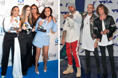 3/1/2018 - Leigh-Anne Pinnock, Perrie Edwards, Jesy Nelson and Jade Thirlwall of Little Mix in the press room at the Global Awards. KEVI, Matthew Russell, and Trevor Dahl of Cheat Codes at the 2017 MTV Video Music Awards.