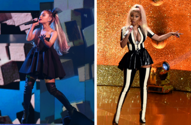 Ariana Grande performs at the 2018 Billboard Music Awards. / Nicki Minaj performs on the 2017 'MTV Video Music Awards'.