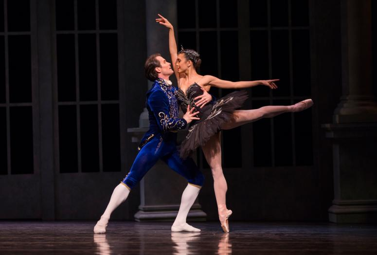 Pacific Northwest Ballet principal dancers Seth Orza as Siegfried, and Noelani Pantastico as Odette, in Kent Stowell's Swan Lake, running February 2 – 11, 2018. Photo © Angela Sterling.