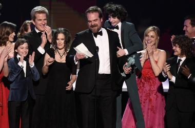 Jan 29, 2017; Los Angeles, CA, USA; David Harbour speaks as cast members of Stranger Things (Netflix) accept the award for Outstanding Performance by an Ensemble in a Drama Series during the 23rd Annual Screen Actors Guild Awards at the Shrine Auditorium.